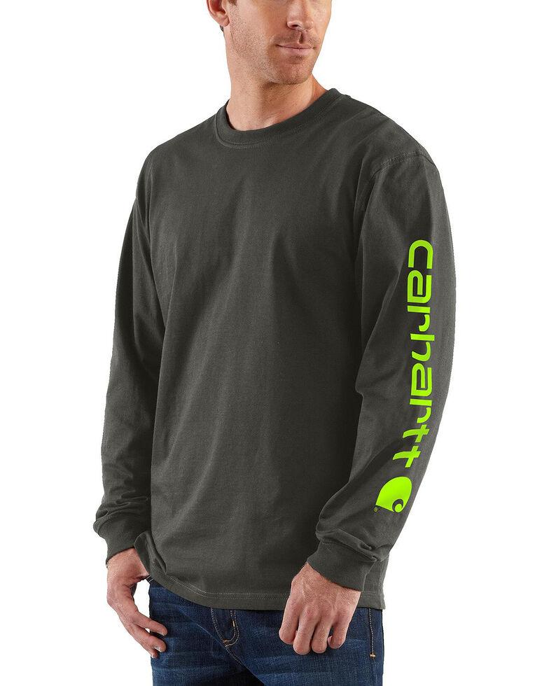 Carhartt Men's Signature Logo Sleeve Knit Work T-Shirt - Big & Tall, Bark, hi-res