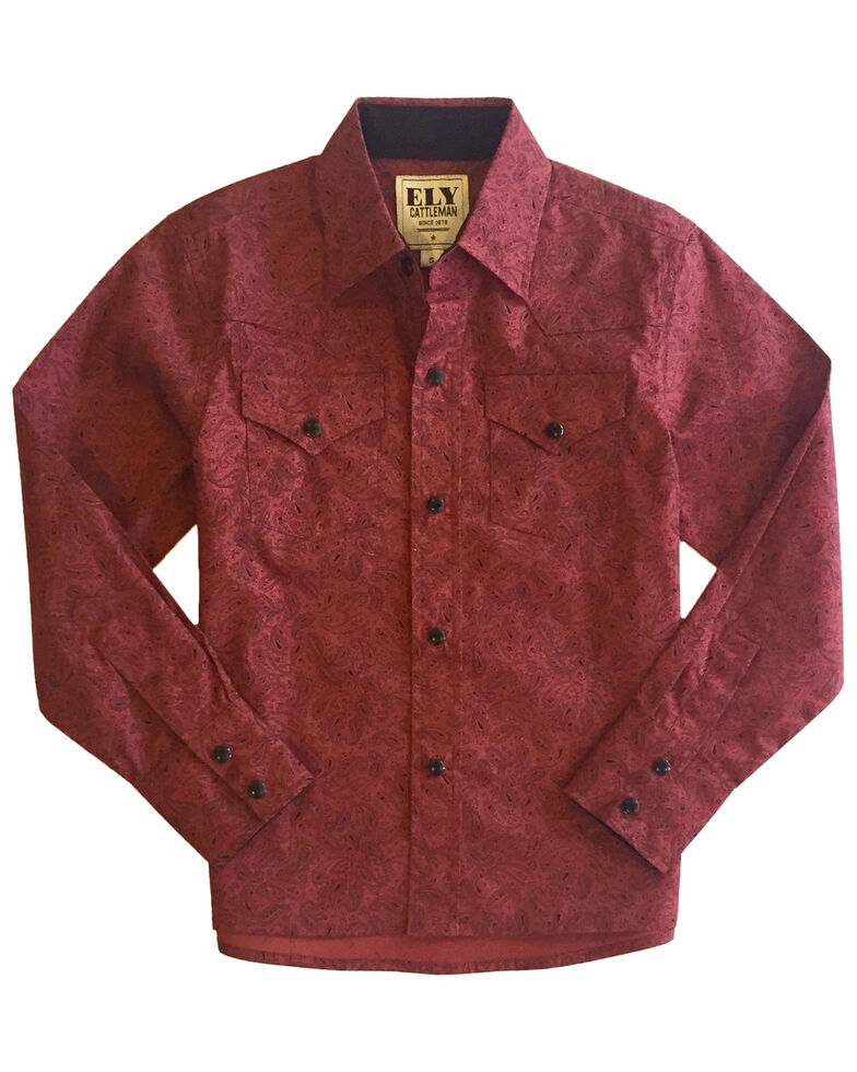 Ely Walker Boys' Wine Paisley Print Long Sleeve Western Shirt , Wine, hi-res