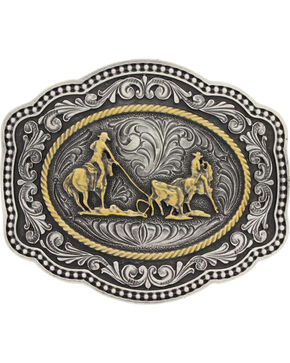 Montana Silversmiths Men's Silver Team Roper Belt Buckle , Silver, hi-res