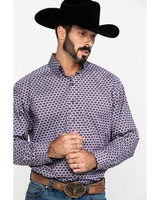 Tuf Cooper Men's Burgundy Stretch Geo Poplin Print Long Sleeve Western Shirt , Burgundy, hi-res