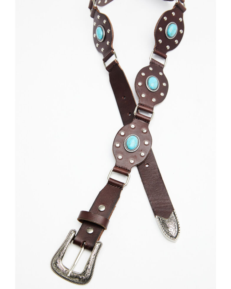 Shyanne Women's Multi Studded Turquoise Concho Belt, Brown, hi-res