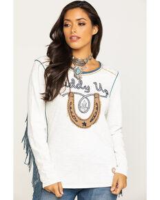 Double D Ranchwear Women's Giddy Up Fringe Top, White, hi-res