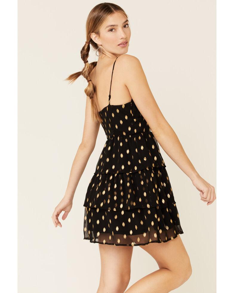 Sadie & Sage Women's Metallic Clip Dot Dress, Black, hi-res