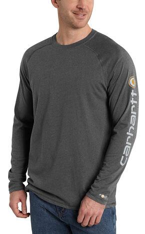 Carhartt Men's Force Cotton Delmont Long Sleeve Graphic T-Shirt, Grey, hi-res