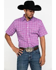 Wrangler Men's Wrinkle Resist Magenta Plaid Short Sleeve Western Shirt , Dark Pink, hi-res
