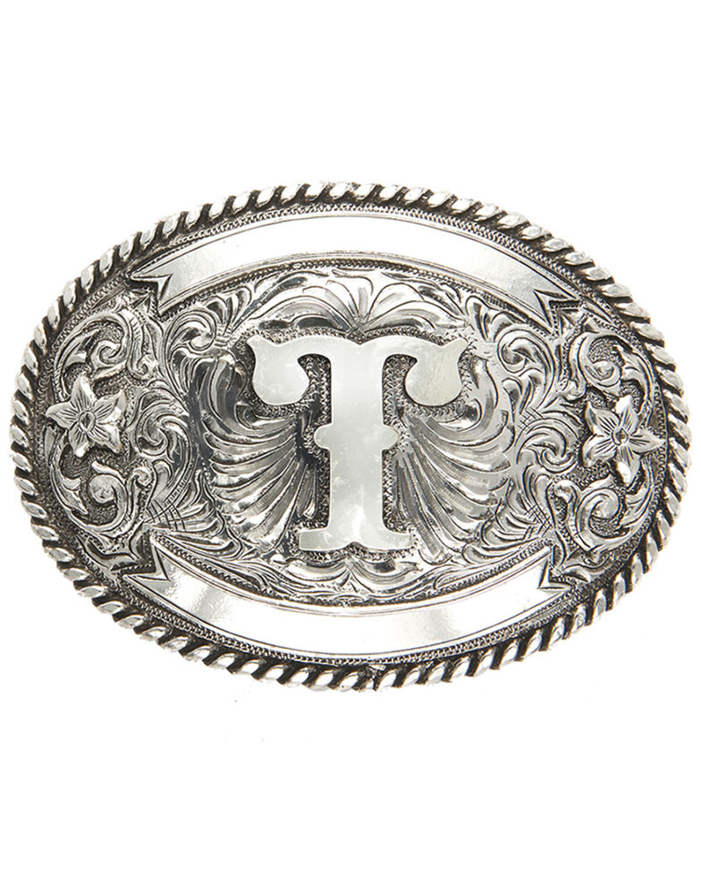Cody James Men's Initial T Belt Buckle, Silver, hi-res