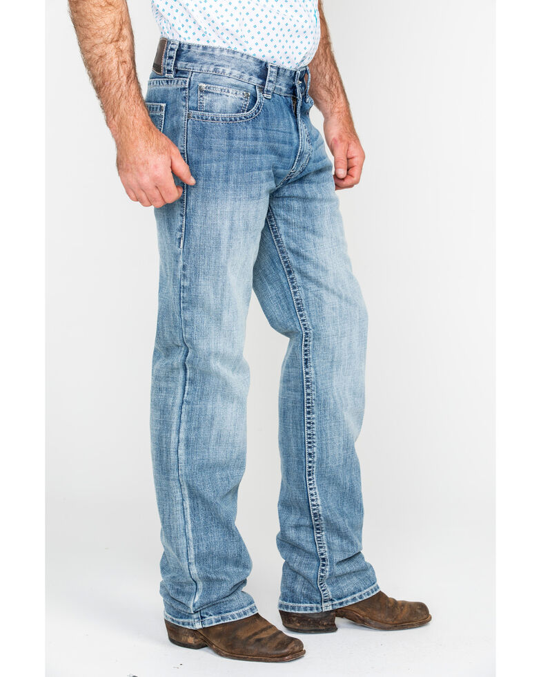 Rock & Roll Cowboy Men's Large Double V Stitched Relaxed Straight Jeans , Light Blue, hi-res