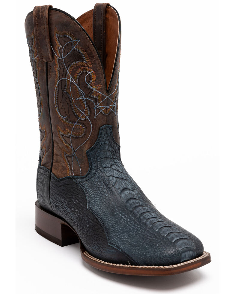 Dan Post Men's Navy Ostrich Western Boots - Wide Square Toe, Brown, hi-res