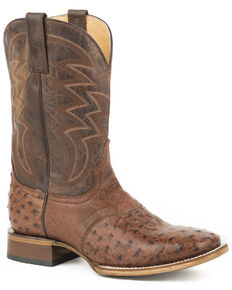 Roper Men's Brown Deadwood Ostrich Skin Boots - Square Toe , Brown, hi-res