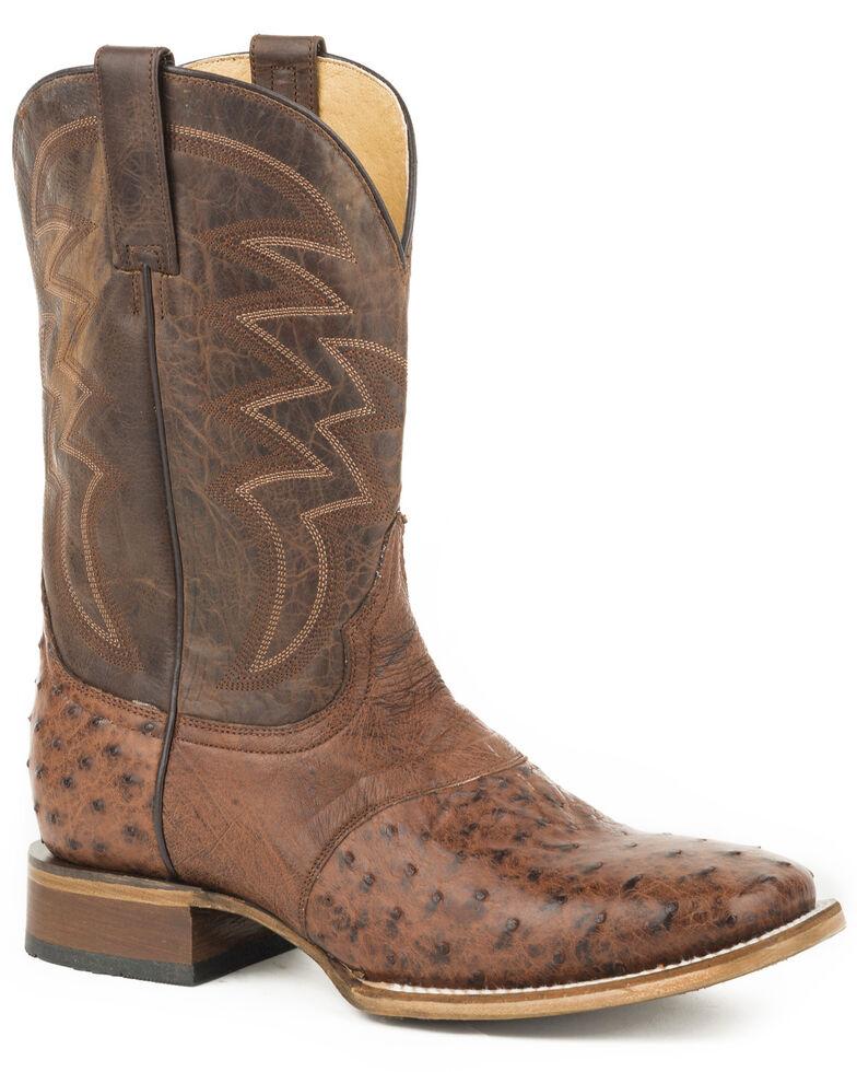 Roper Men's Brown Deadwood Ostrich Skin Boots - Square Toe , Brown, hi-res
