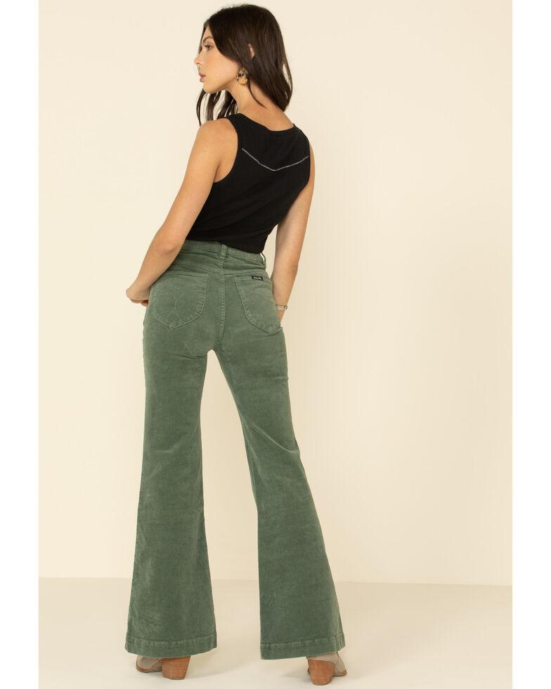 Threebyone Women's Sage East Coast Corduroy Flare Leg Jeans, Sage, hi-res