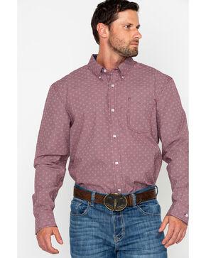 Cody Core Men's North Star Geo Print Long Sleeve Western Shirt, Maroon, hi-res