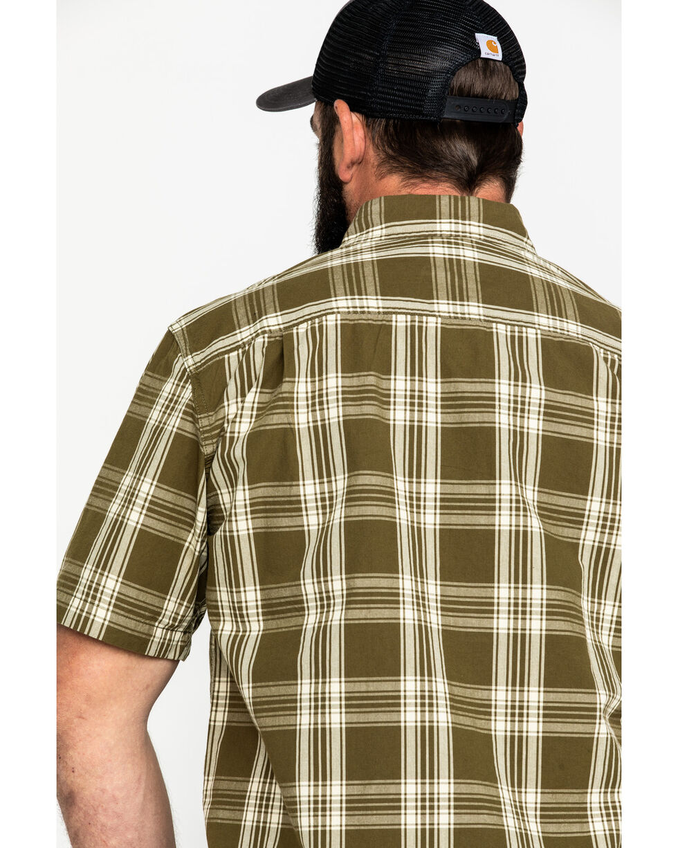 Carhartt Men's Olive Essential Plaid Button Long Sleeve Work Shirt - Tall , Olive, hi-res