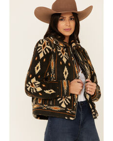 Band Of Gypises Women's Charcoal Aztec Melrose Jacket , Charcoal, hi-res