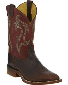 Justin Men's Whiskey Frontier Cowboy Boots - Square Toe, Cognac, hi-res
