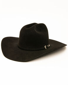 Rodeo King Men's 10X Low Felt Hat, Black, hi-res
