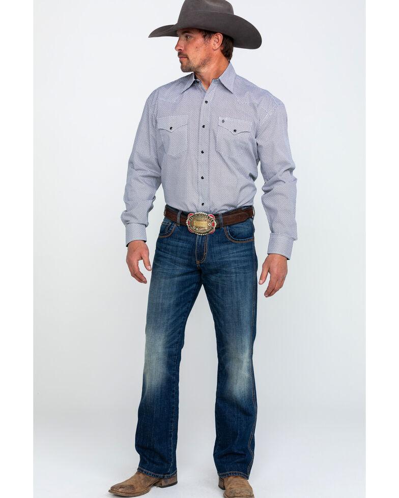 Stetson Men's Black Small Geo Print Long Sleeve Western Shirt , Black, hi-res