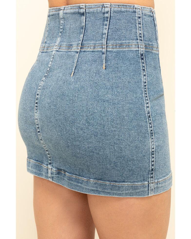 Free People Women's Light Denim Virgo Mini Skirt, Blue, hi-res
