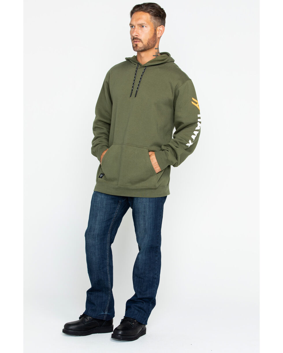 Hawx® Men's Logo Sleeve Work Hoodie , Dark Green, hi-res