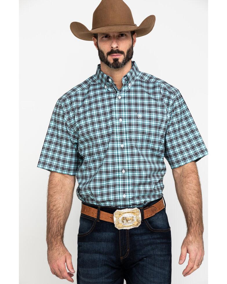 Ariat Men's Klamath Stretch Small Plaid Short Sleeve Western Shirt , Multi, hi-res
