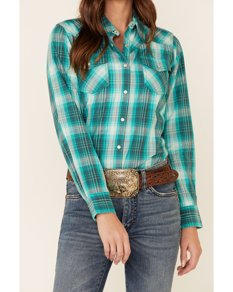 Ariat Women's Green R.E.A.L Magnetic Plaid Long Sleeve Western Shirt , Turquoise, hi-res