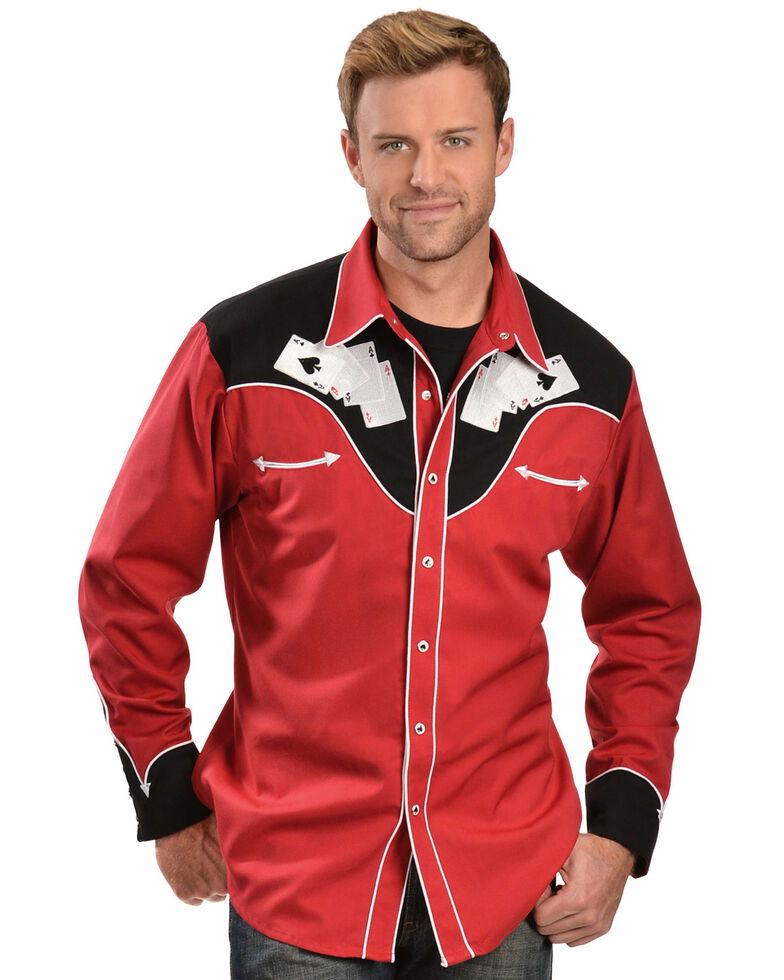 Scully Men's Poker Cards Embroidered Retro Long Sleeve Western Shirt , Red, hi-res