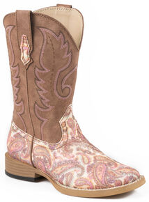 Roper Girls' Pink Paisley Print Cowgirl Boots - Square Toe, Multi, hi-res