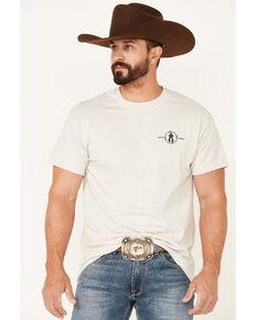 Cowboy Up Men's Tan Longhorn Barb Wire Skull Graphic Short Sleeve T-Shirt , Tan, hi-res