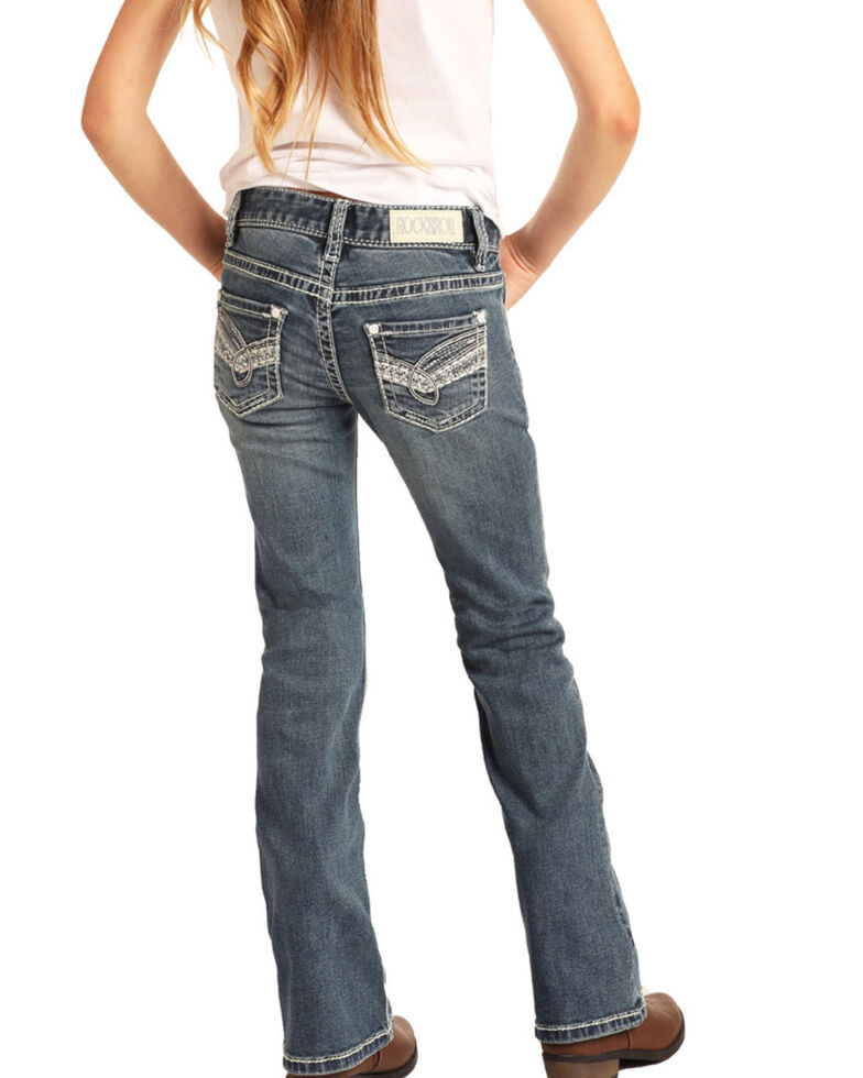 Rock & Roll Cowgirl Girls' Medium Scroll Bootcut Jeans, Blue, hi-res