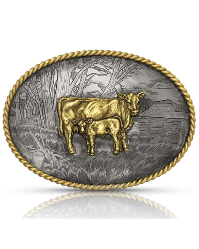 Montana Silversmiths Men's Pastoral Scene With Cow & Calf Buckle, Silver, hi-res