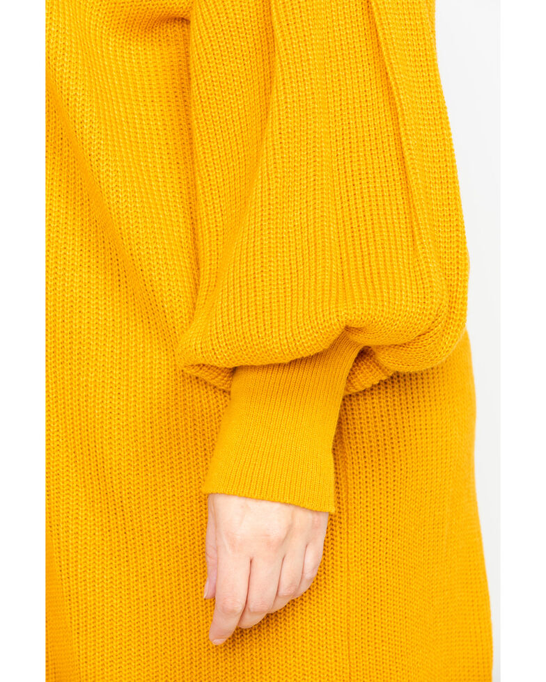 Flying Tomato Women's Open Front Mustard Sweater - Plus, Dark Yellow, hi-res