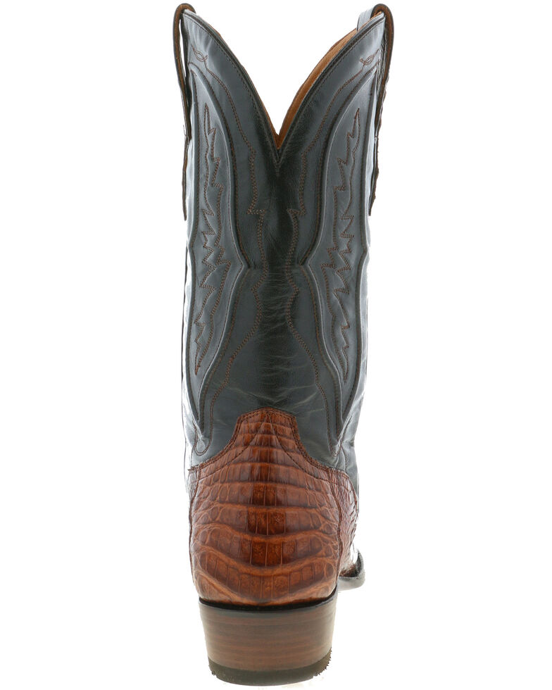 El Dorado Men's Caiman Belly Western Boots - Round Toe, Brown, hi-res