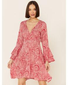 Wrangler Women's Paisley Americana Dress, Red, hi-res
