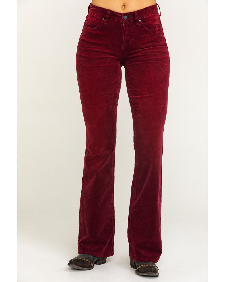 Idyllwind Women's Psychedelic Corduroy Bootcut Jeans , Wine, hi-res