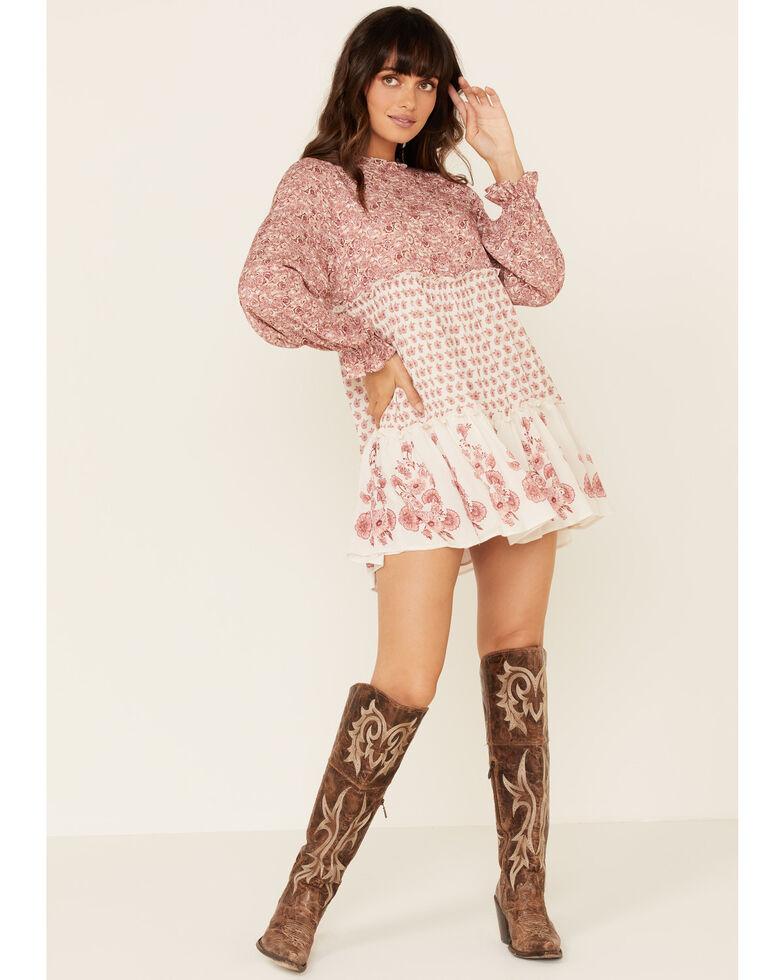 Coco + Jaimeson Women's Floral Rose Twin Print Dress, Rose, hi-res