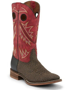 Nocona Men's Go Round Ruby Red Western Boots - Square Toe, Brown, hi-res