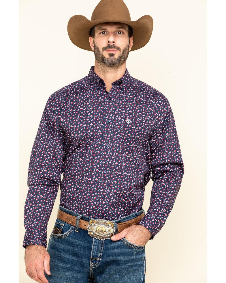 Ariat Men's Namas Stretch Floral Print Long Sleeve Western Shirt - Tall , Navy, hi-res