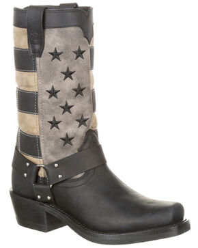 Durango Women's Faded Flag Harness Boots - Square Toe, Charcoal, hi-res