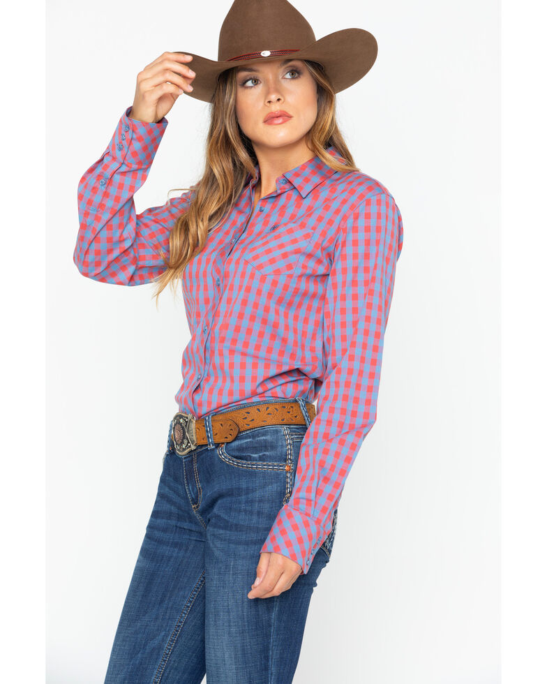 Ariat Women's Gingham Button Down Long Sleeve Western Shirt , Red, hi-res