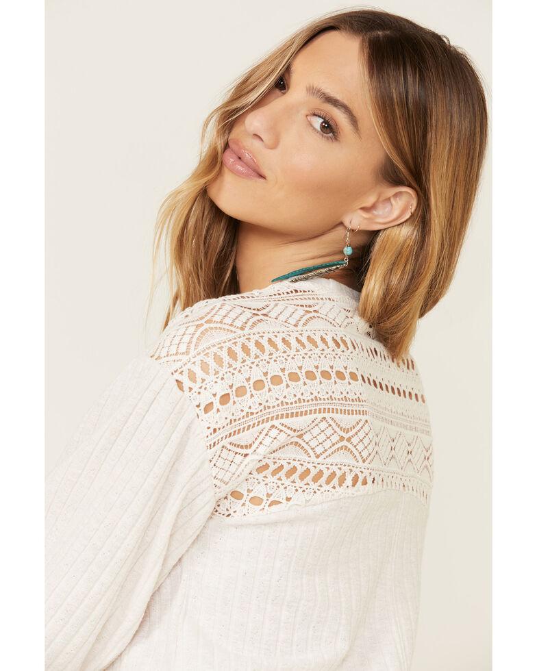 Eyeshadow Women's Natural Crochet Back Long Sleeve Top , Natural, hi-res