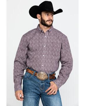 Cody Core Men's Mar Briarpatch Geo Print Long Sleeve Western Shirt , Maroon, hi-res
