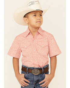 Ely Walker Boys' Coral Paisley Print Short Sleeve Snap Western Shirt , Coral, hi-res