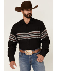 Roper Men's Black & Wine Border Stripe Long Sleeve Snap Western Shirt , Black, hi-res