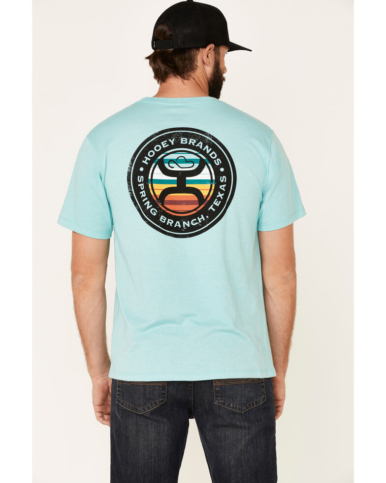 HOOey Men's Turquoise Guadalupe Sunset Logo Graphic Pocket T-Shirt , Turquoise, hi-res