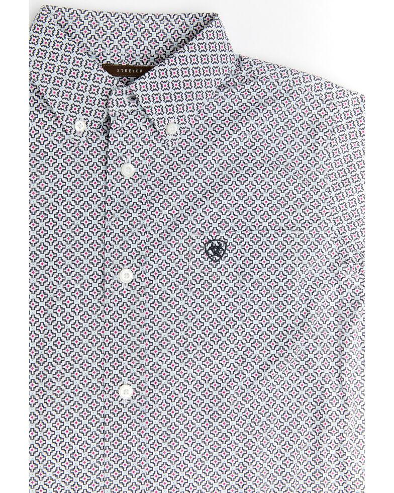 Ariat Boys' Randall Stretch Geo Print Long Sleeve Western Shirt , White, hi-res