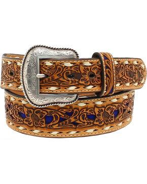 Nocona Women's Blue Floral Embossed Belt, Brown, hi-res