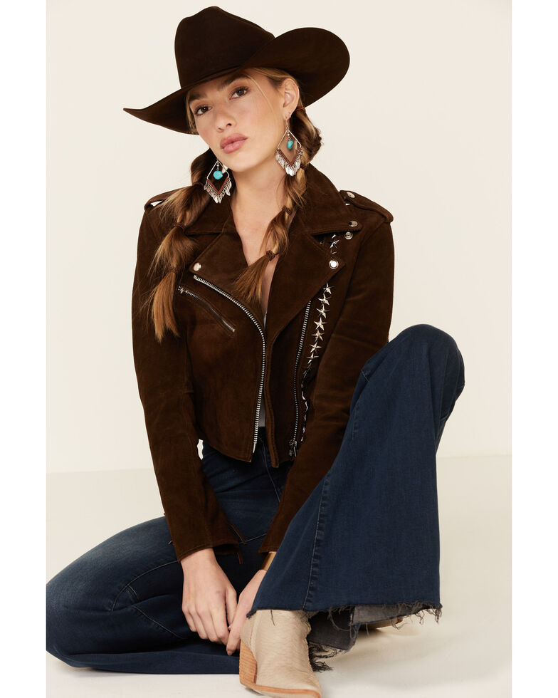 Understated Leather Women's Tan Paris Texas Star Studded Jacket , Tan, hi-res