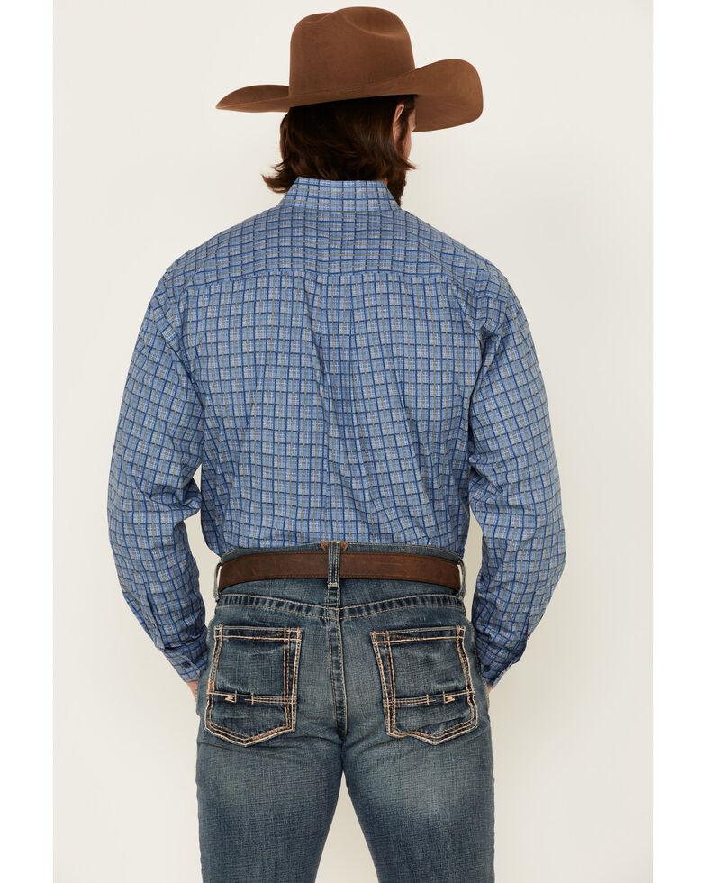 Cinch Men's Blue Printed Plaid Long Sleeve Western Shirt , Navy, hi-res