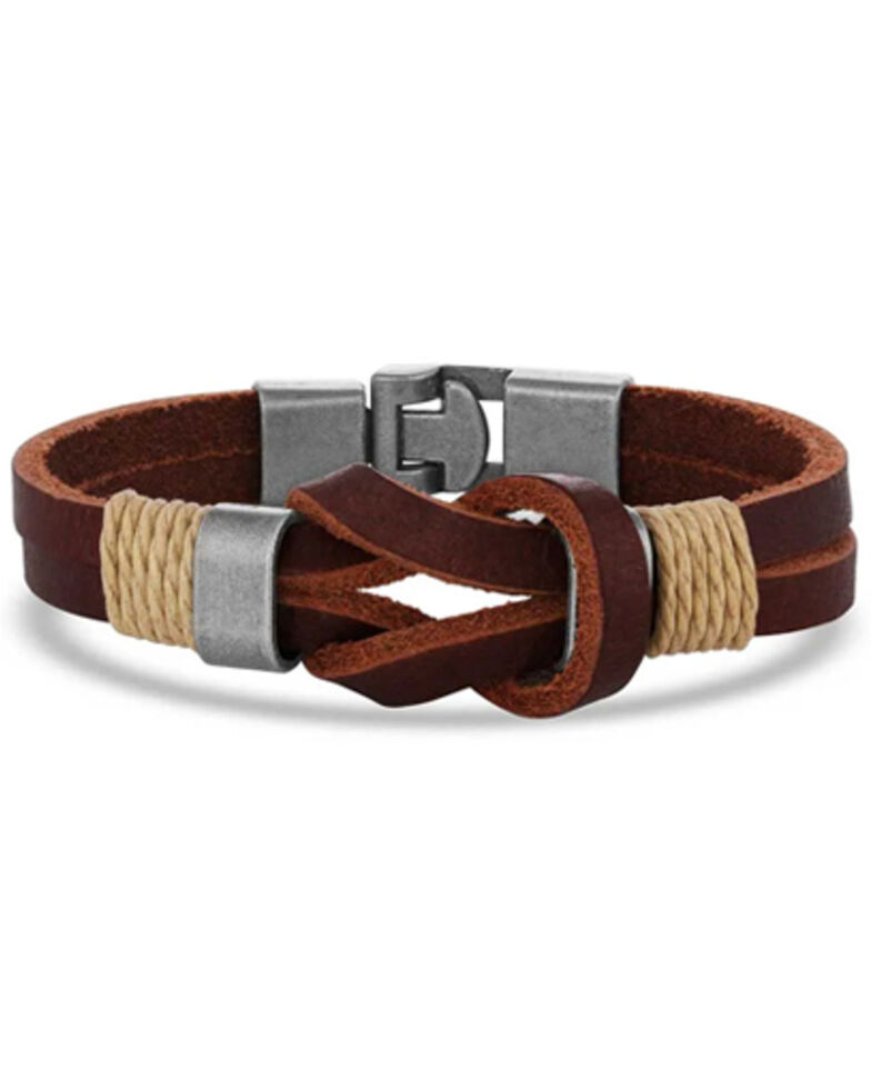 Montana Silversmiths Women's Stronger Together Leather Bracelet, Silver, hi-res