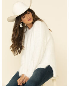 PJ Salvage Women's Ivory Feather Knit Cozy Pullover Sweater , Ivory, hi-res